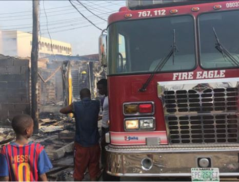 Millions of goods destroyed as fire guts shops In Ogba, Lagos