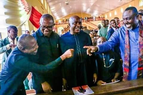 Photos: Gov. Rochas Okorocha all smiles as he meets Imo Governor-elect, Emeka Ihedioha, Peter Obi, Governor Dickson, others