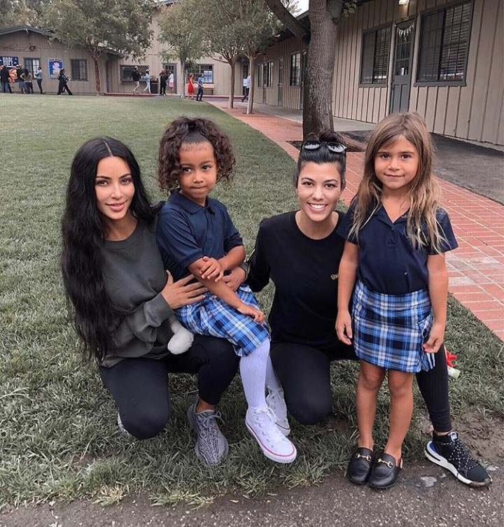 North West and cousin Penelope Disick look adorable in their school uniform as they resume school following spring break