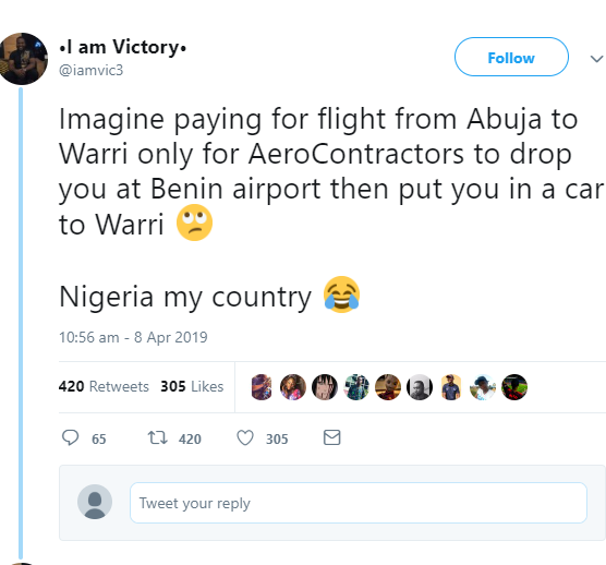 Twitter users accuses Nigerian airline company of flying them halfway then putting them into a bus to continue the rest of the journey (screenshots)