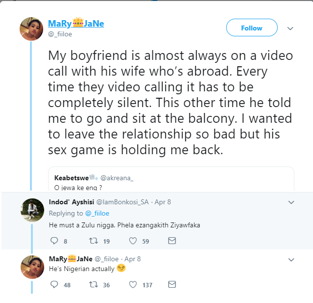 South African lady who is dating a married Nigerian man says she can