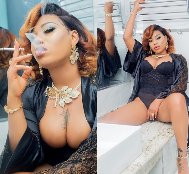 Toyin Lawani flaunts her boobs as she poses in sexy lingerie (Sultry Photos)