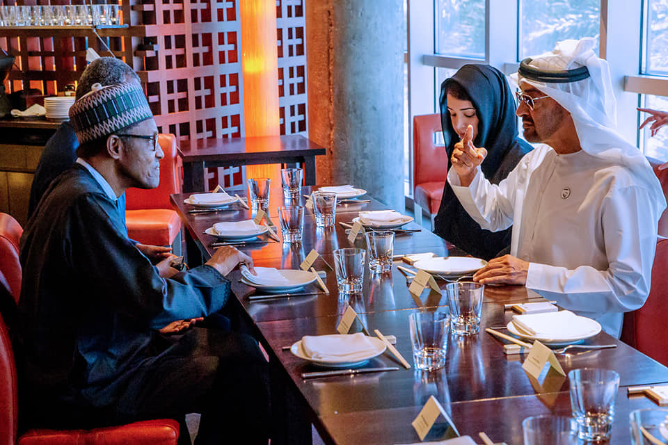 Photo of?President Buhari having lunch with Crown Prince of Abu Dhabi, Mohammed Bin Zayed Al Nahyan