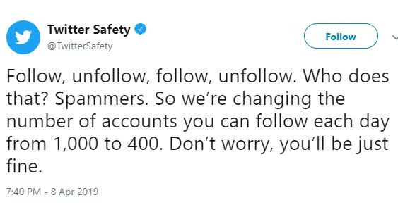 Twitter reduces the number of accounts you can follow to 400 per day