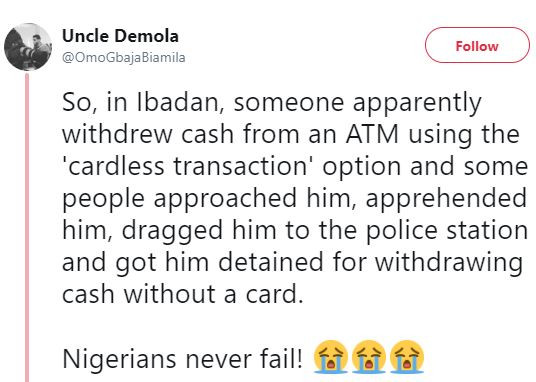 Lol! Man who withdrew cash from an ATM using