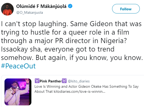 Activist, Olumide Makanjuola comes for Gideon Okeke over his homophobic comment