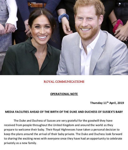 The Duke and Duchess of Sussex release a statement about the birth of their baby