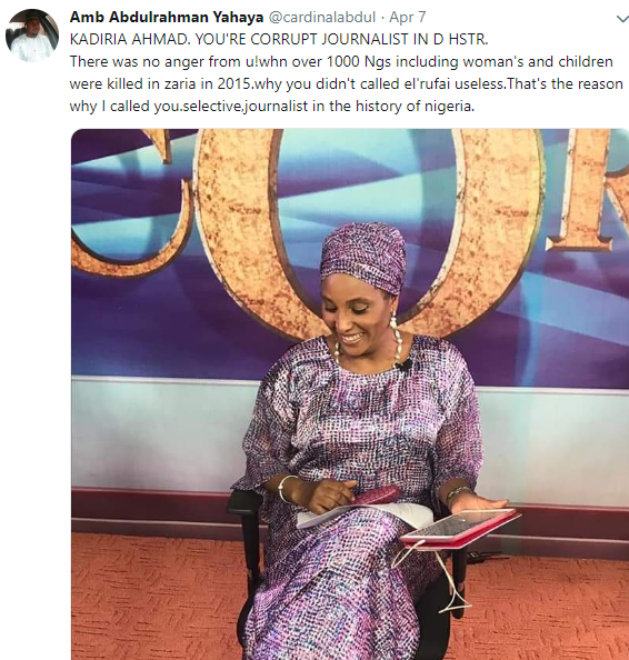 Journalist Kadira Ahmed raises alarm after man tells her she is walking corpse for blasting Zamfara state governor