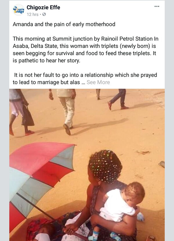 Photo: Young mother with her newborn triplets spotted begging in Asaba after father of the children allegedly absconded