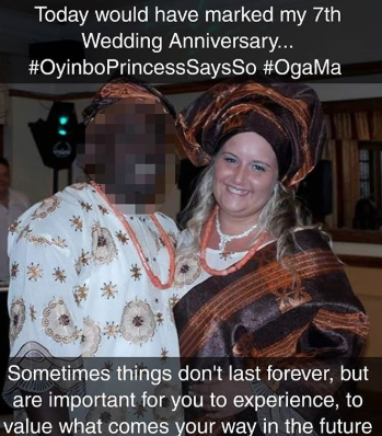Comedienne, Oyinbo princess marks what would have been their 7th wedding anniversary