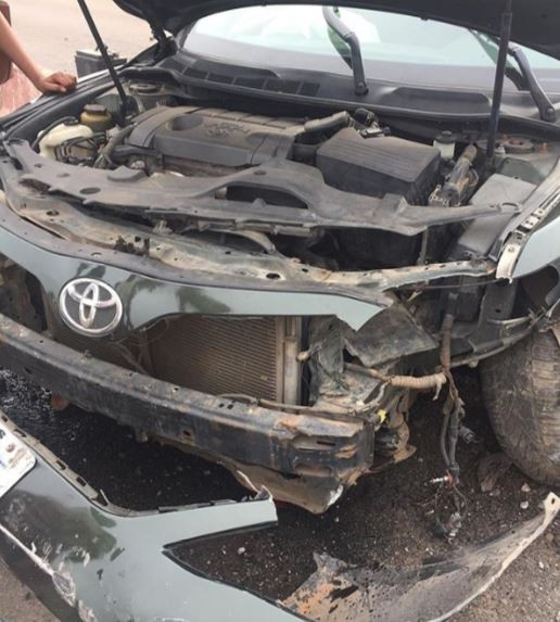 Actress, Abiola Adebayo survives terrible car crash (Photos)