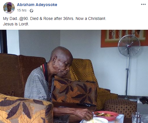 Nigerian man celebrates his 90-year-old father who