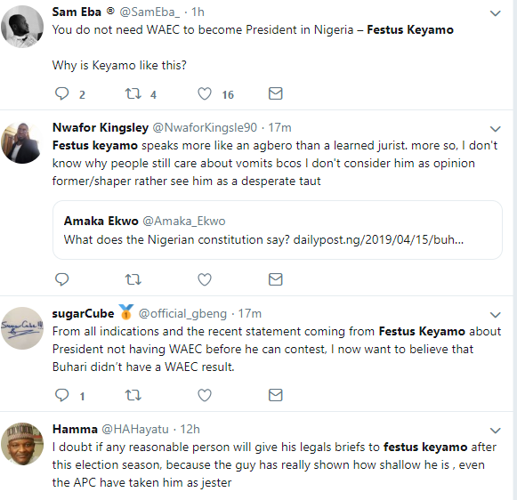 Nigerians react to Keyamo?s statement that WAEC certificate is not needed to become a governor or president