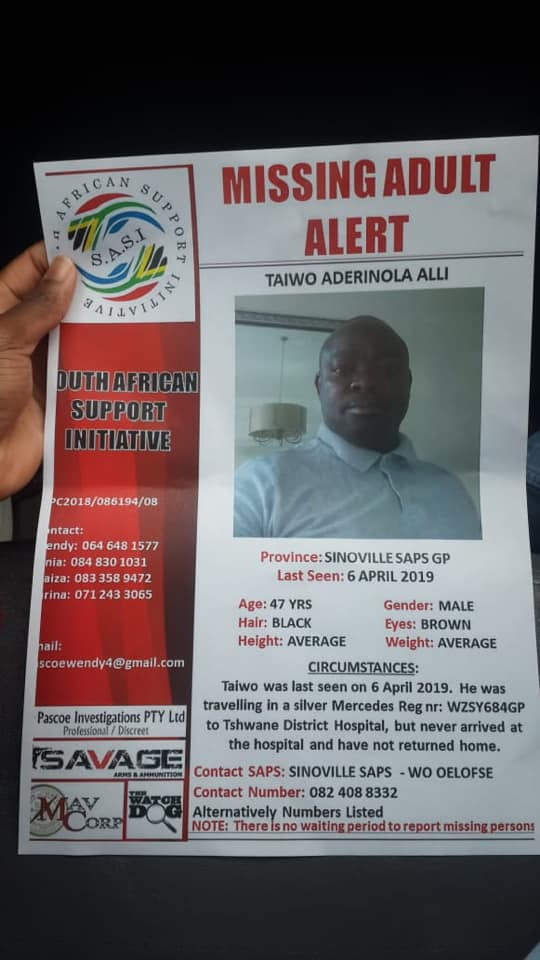 Nigerian man declared missing in South Africa