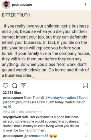"Peter Okoye is criticized for saying, ""if you really love your children, get a business not a job"""