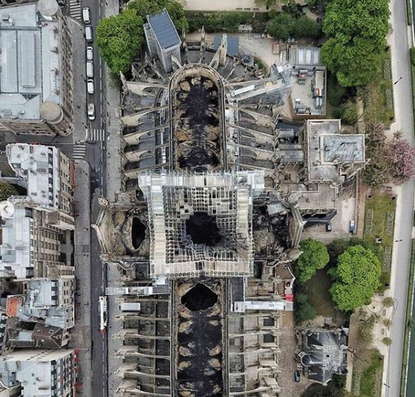 Drone photos reveal the devastating scale of the Notre Dame Cathedral fire