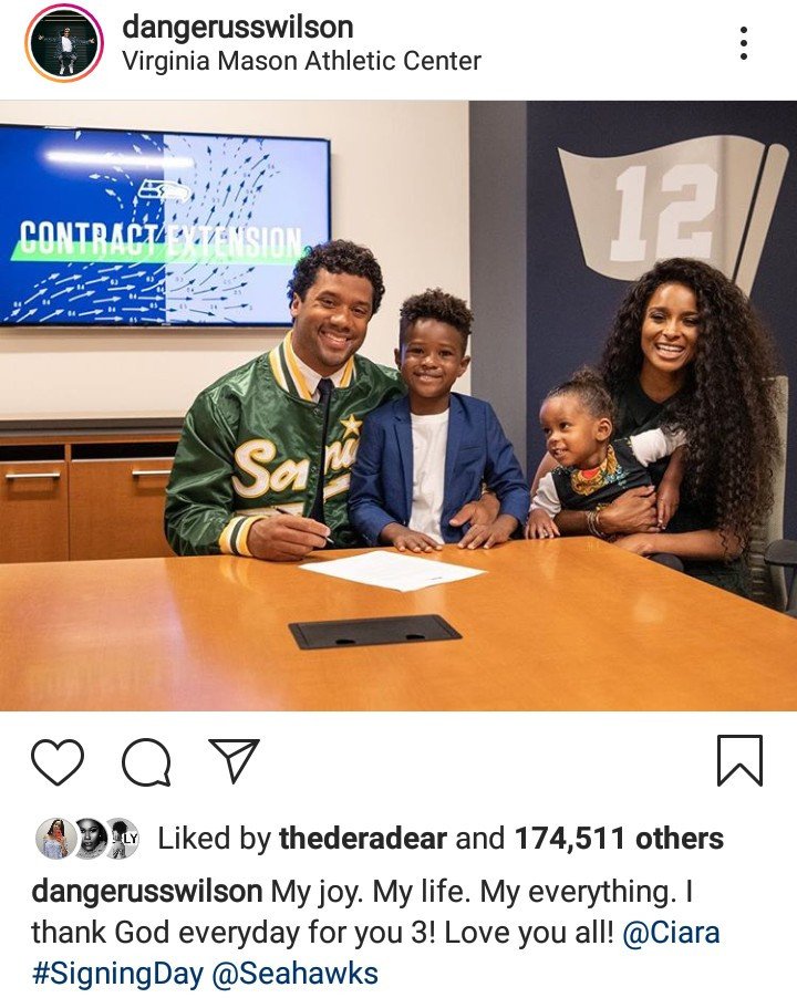 Russell Wilson thanks God for Ciara and their kids on signing day as he becomes the highest paid NFL player
