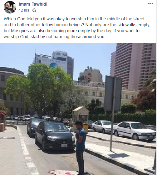 """Imam cautions Muslims who pray """"in the middle of the street"""" and """"bother other fellow human beings"""""""
