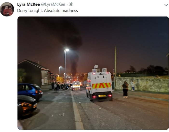 Female journalist shot dead while covering a riot in Londonderry, Ireland