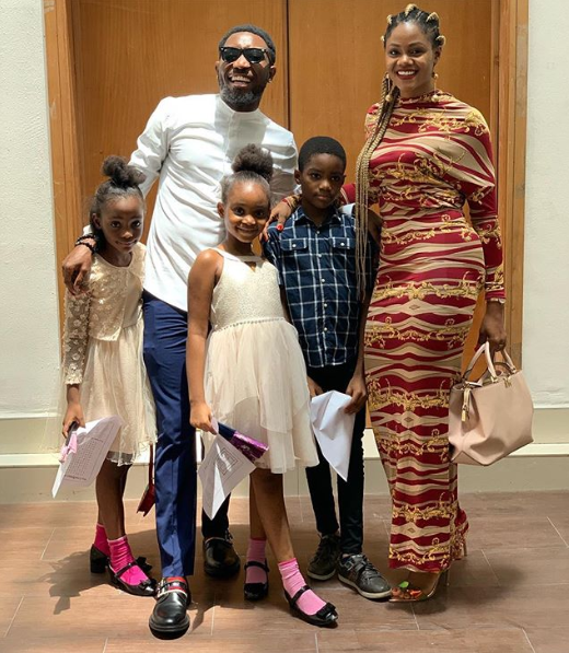 Beautiful family photo of Timi Dakolo, his wife and their children
