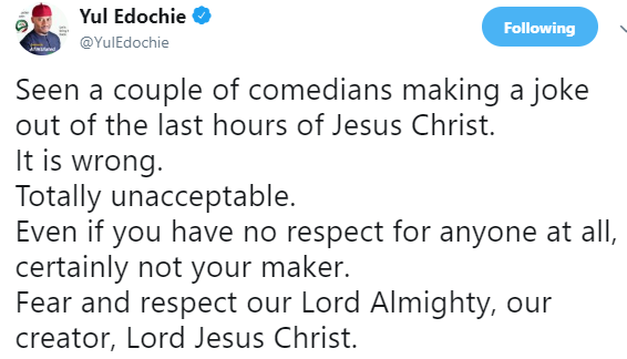 It is wrong to make jokes about the last hours of Christ- actor Yul Edochie tells comedians