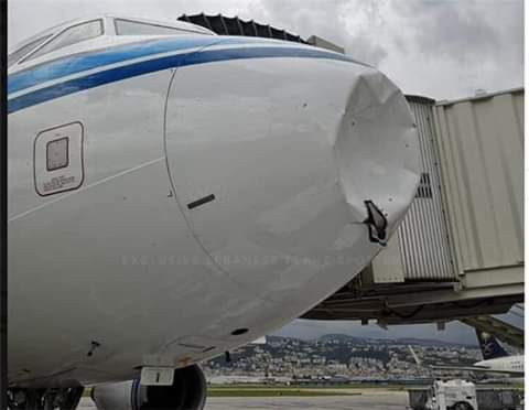 Photos: Kuwait Airways plane bound for Beirut damaged after colliding with snow during landing
