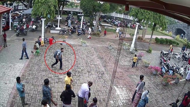 CCTV emerges of Sri Lanka church bomber entering Katuwapitiya Church before blowing himself up (Video)