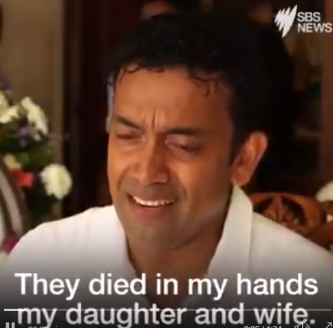 Australian man who lost his wife and daughter in the Sri Lanka terror attack breaks down in tears as he describes the moment they died in his arms (video)