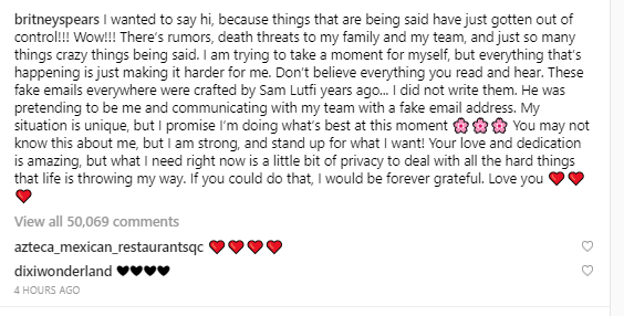 Britney Spears addresses her mental health treatment and accuses ex-manager Sam Lutfi of crafting the fake emails flying around