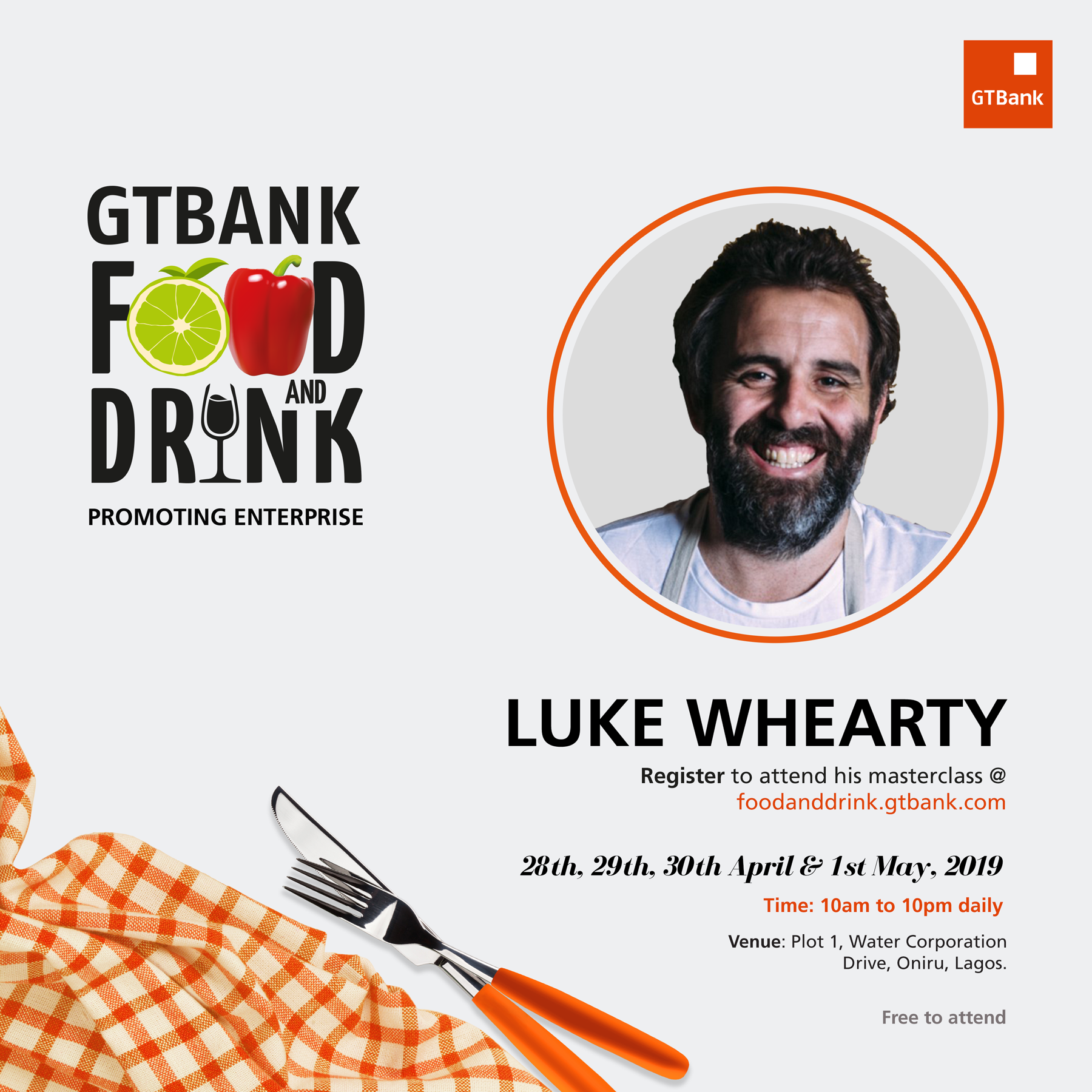 Fifteen Masterclass Facilitators announced for the GTBank Food and Drink Festival