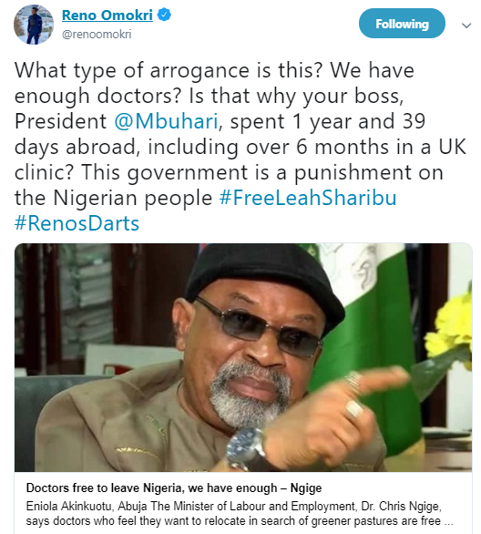 We have enough doctors in Nigeria and Buhari travels to the UK for treatment- Reno Omokri replies Chris Ngige