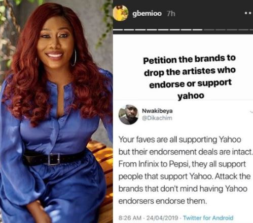 OAP Gbemi tells Nigerians to?petition brands to terminate endorsement deals of celebs supporting it