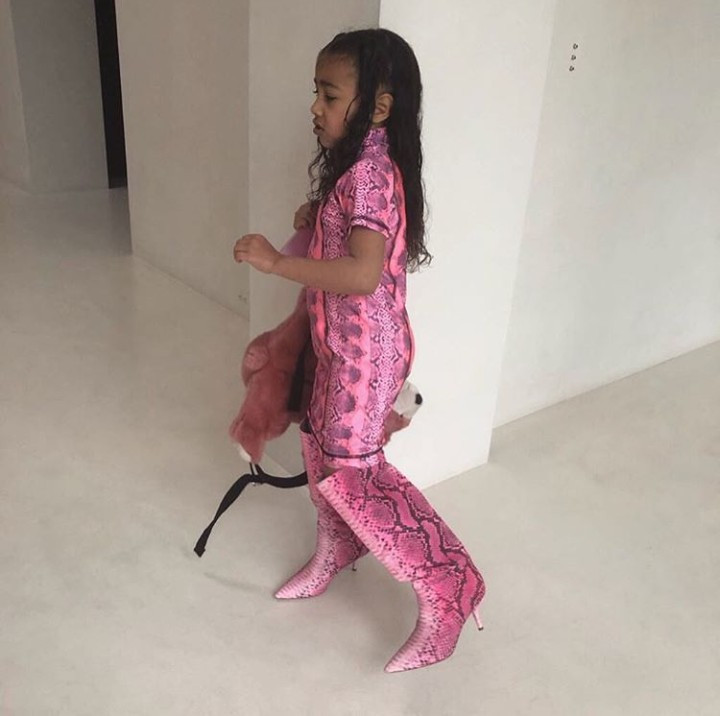 North West throws a fit because she wasn't allowed to step out in Kim Kardashian's high-heeled boots (photos)