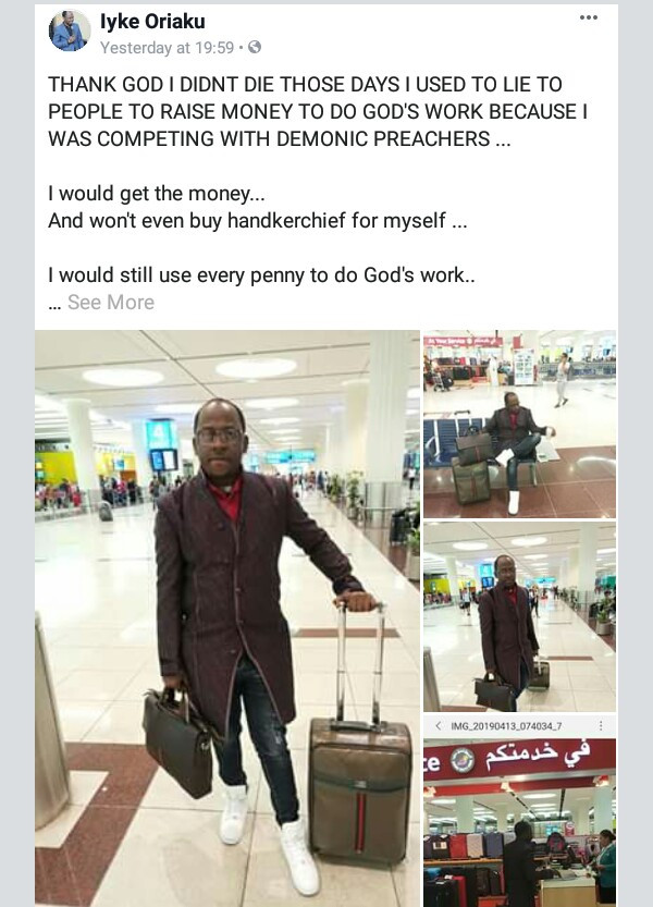 Nigerian preacher reveals how he used to lie to people to raise money for God