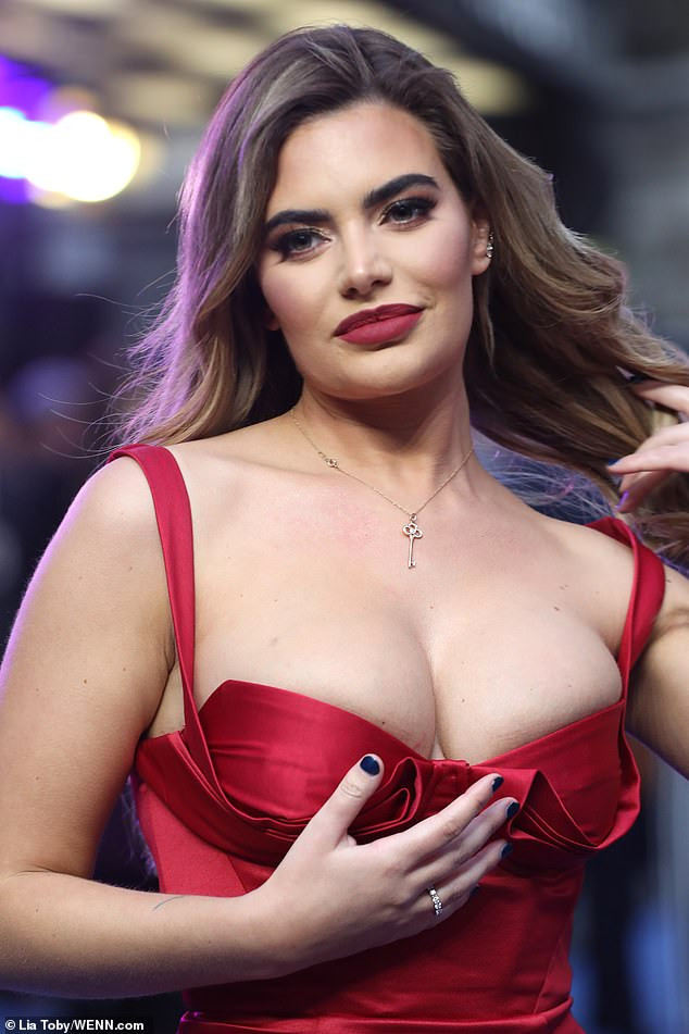 Megan Barton Hanson who vowed plastic surgery made her happier flaunts her boobs as she steps out for movie premiere in London (Photos)