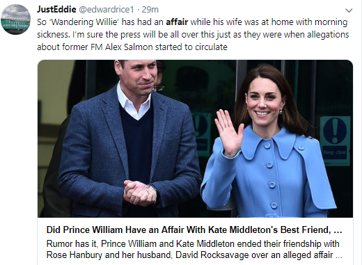 Twitter users react to rumors Prince William cheated on Kate Middleton with her best friend Rose Hanbury