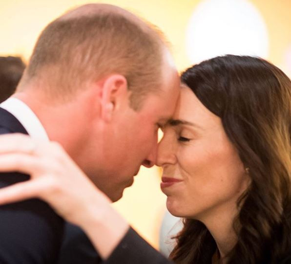 Photo: New Zealand Prime Minister, Jacinda Ardern greets UK?s Prince William with a
