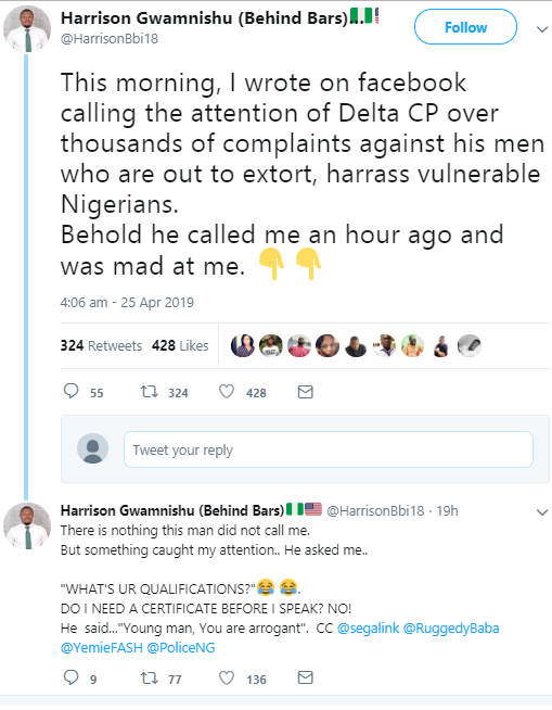 Human rights activist narrates how Delta CP allegedly called to scold him after he made a post complaining about his men