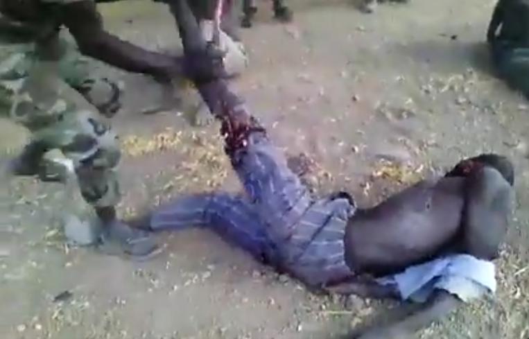 Horrifying Video: Soldier breaks a man