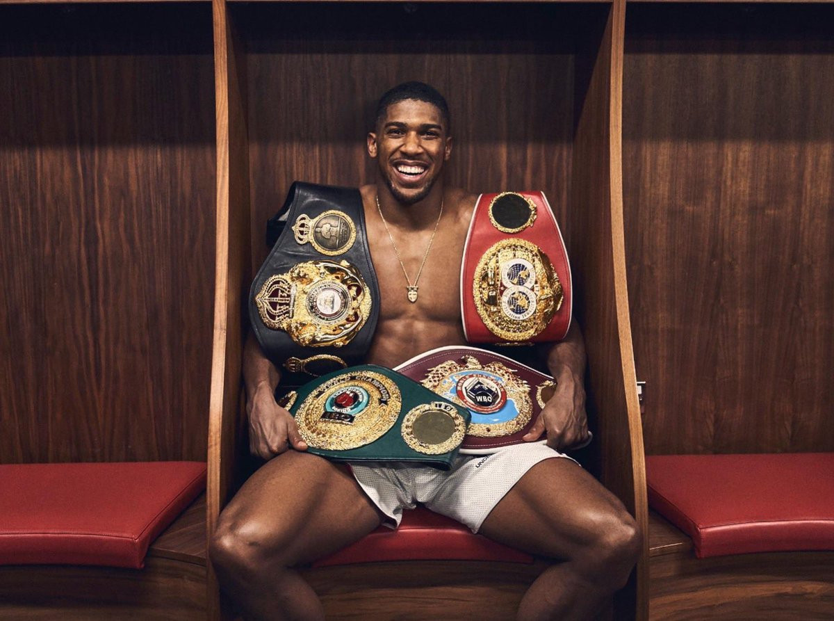 Anthony Joshua Shows Off His Collection Of Title Belts In New Photo
