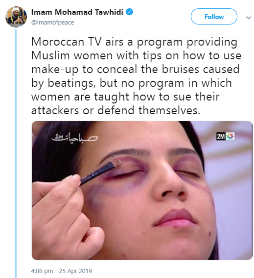 Imam condemns TV program that teaches women makeup tips to hide bruises inflicted on them by their husbands