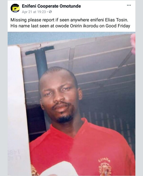 Photo: Man who was declared missing in Lagos, found locked up in police cell and allegedly denied permission to contact his family