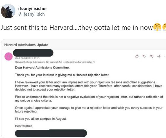 Harvard University sends a Nigerian man rejection letter and he responds to them with?his own epic rejection letter (Photo)