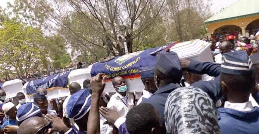 Photos from the funeral of the nine Boys Brigades killed in Gombe on Easter Monday