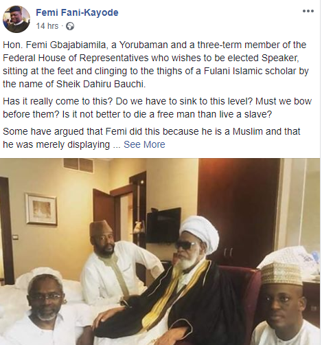FFK comes hard on lawmaker, Femi Gbajabiamila, for sitting at the feet of a Fulani Islamic scholar (photo)