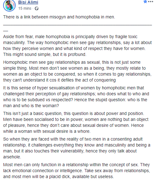 """""""Take sex away from relationships, and most men will be useless"""" Bisi Alimi says as he points out the link between misogyn and homophobia in men"""