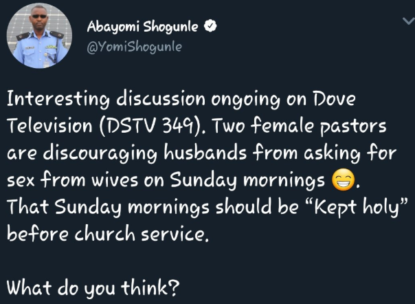 Female pastors discourage husbands from asking their wives for sex on Sunday mornings and the reason will amuse you