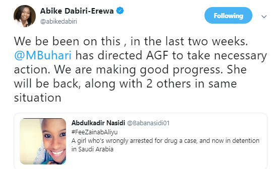 President Buhari directs AGF to facilitate release of Nigerian lady, Zainab Aliyu, wrongfully arrested for drug trafficking in Saudi Arabia