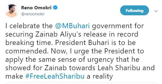 Apply the same sense of urgency used in rescuing Zainab Aliyu to rescue Leah Sharibu - Reno Omokri tells President Buhari
