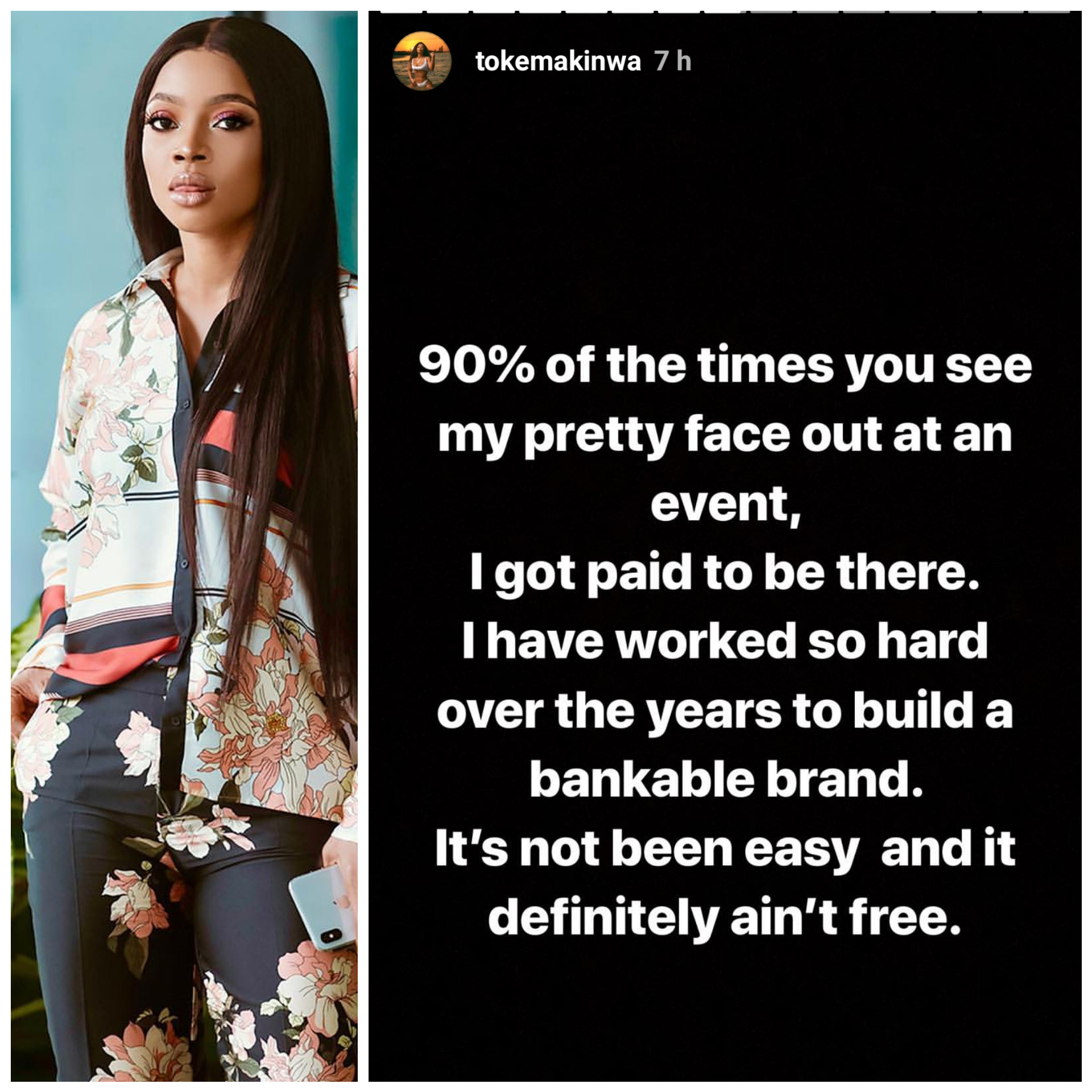 I get paid to take my pretty face to events - Toke Makinwa